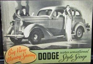 1936 Dodge Dealer Pocket Sales Brochure Style Scoop Touring Coupe Sedan