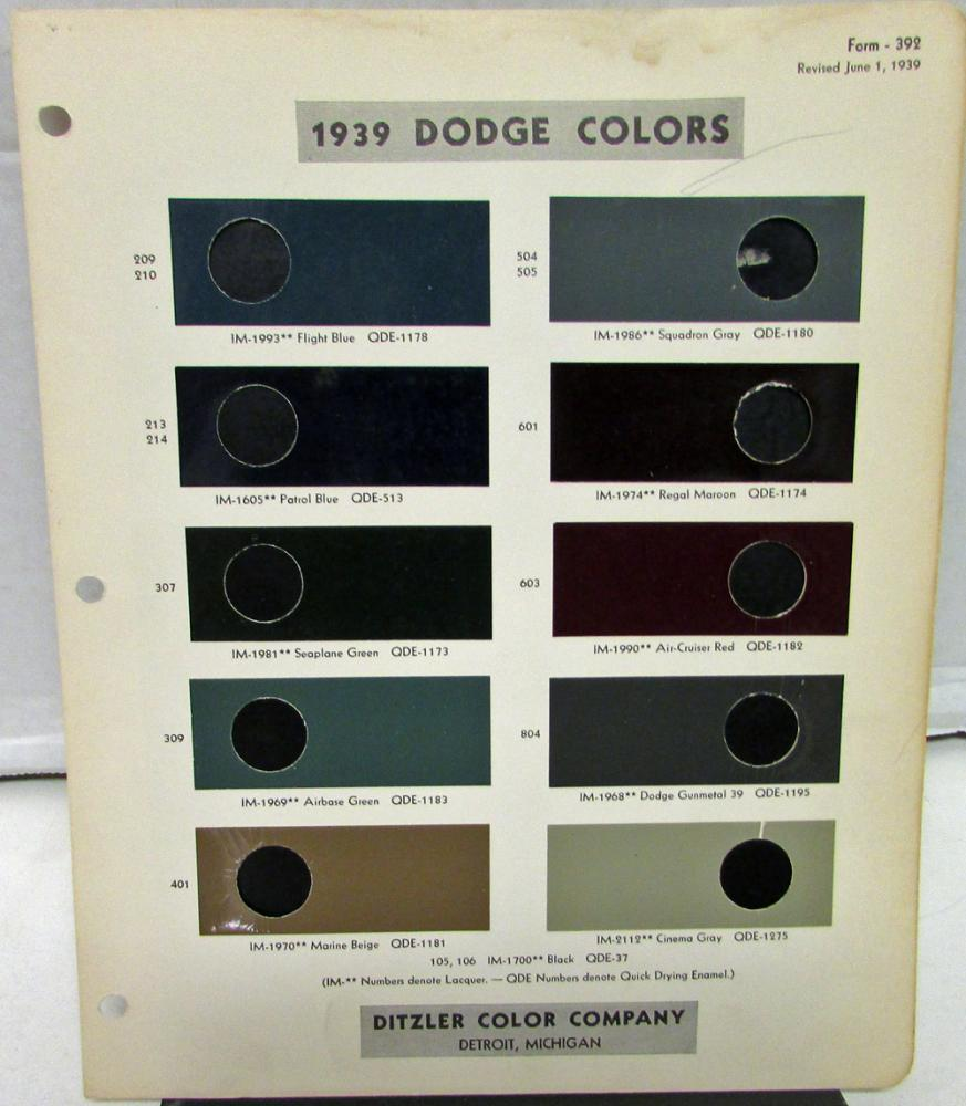 Original 1939 Dodge Ditzler Color Paint Chip Color Selector Code Leaflet