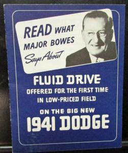 Original 1941 Dodge Dealer Brochure Fluid Drive Transmission Low-Priced Field