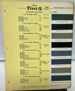 Original 1941 Dodge Acme Fleet-X Color Paint Chips Codes Leaflets W/Updates