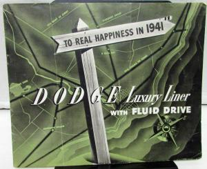 Original 1941 Dodge Dealer Sales Brochure Green Tone Luxury Liner Fluid Drive
