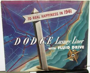 Original 1941 Dodge Dealer Prestige Color Brochure Luxury Liner Fluid Drive