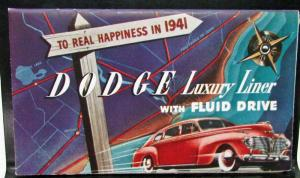 Original 1941 Dodge Dealer Mini Color Pocket Brochure Luxury Liner Fluid Drive