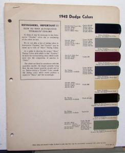 Original 1942 Dodge DuPont Acme Color Paint Chips Leaflets Codes
