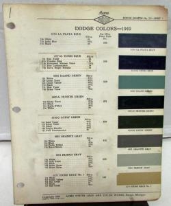 1949 Dodge Acme Proxlin Color Paint Chips Selector Codes Leaflets Rare