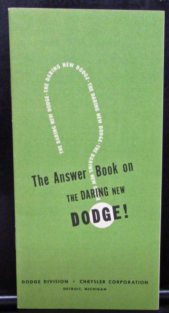 1949 Dodge Dealer Sales Brochure The Answer Book On The Daring New Dodge