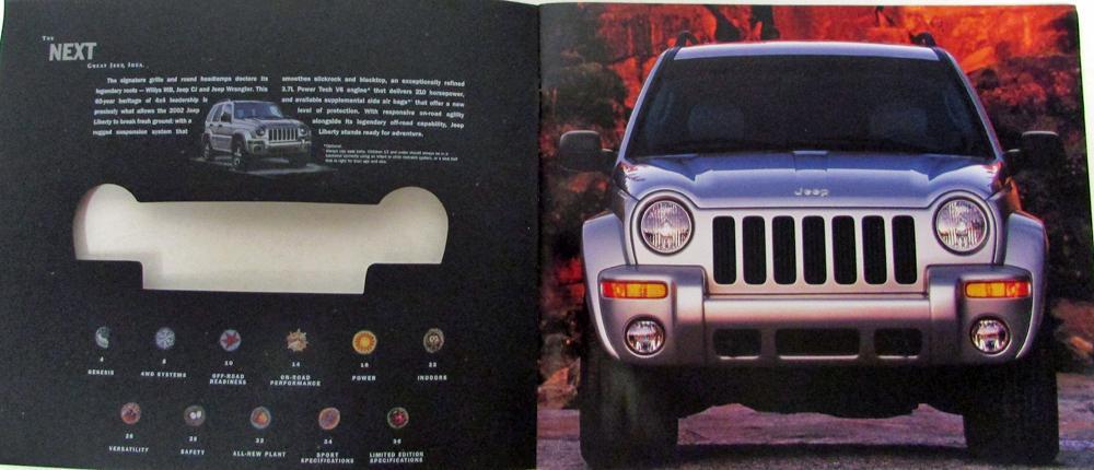 Liberty Auto Sales >> 2002 Jeep Liberty Limited Edition & Sport Original Color Sales Brochure XL