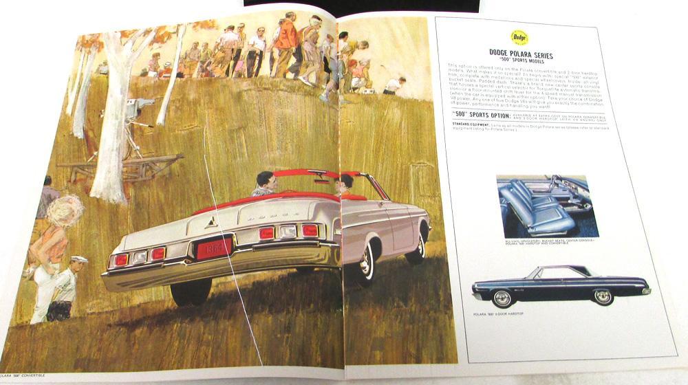 NOS 1964 DODGE POLARA 330 440 SERIES DELUXE DEALERSHIP SALES BROCHURE RARE ORIG