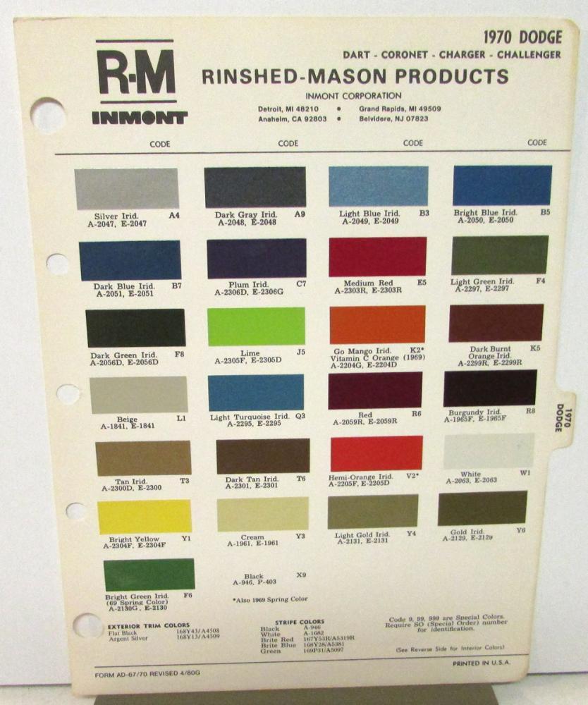 1970 dodge car ppg ditzler color paint chips leaflet high impact1970 dodge car ppg ditzler color paint chips leaflet high impact colors charger