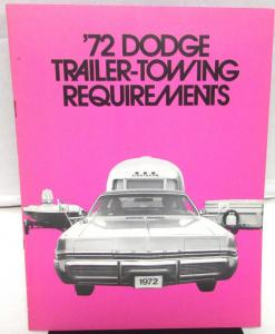 1972 Dodge Dealer Sales Brochure Trailer Towing Requirements Packages