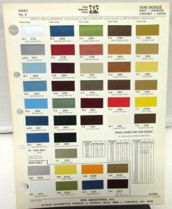1976 Dodge Ppg Ditzler Color Paint Chips Selector Leaflet