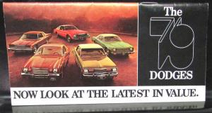 1976 Dodge Dealer Pocket New Models Sales Brochure Charger Dart Aspen Ramcharger