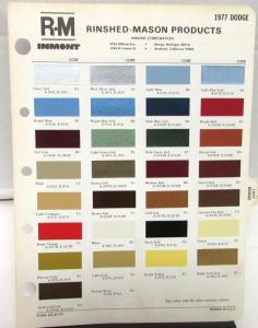 1977 Dodge R-M Color Paint Chips Selector Leaflet Codes All Models