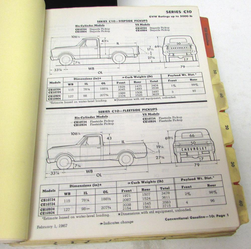Original 1967 Chevrolet Truck Data Book Features Specs El Camino ...
