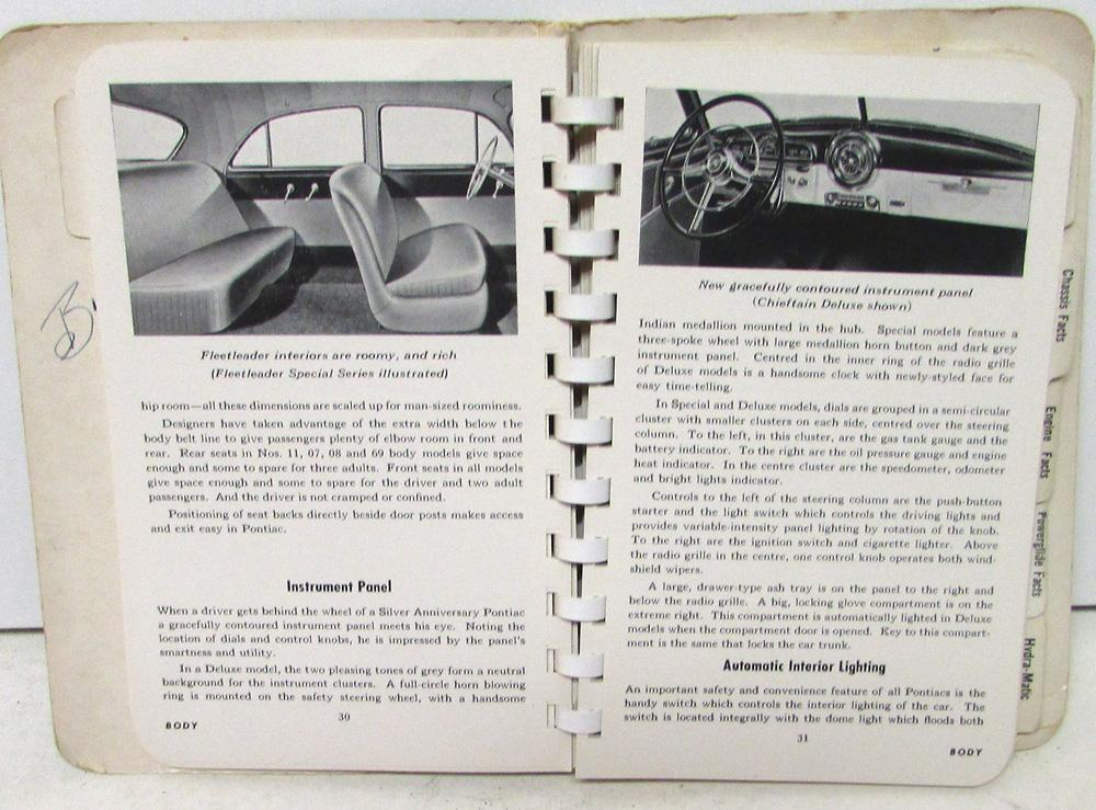 1951 Pontiac Data Facts Book Fleetleader Chieftain Streamliner