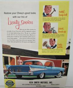 1958 Chevrolet Sales Brochure Mailer Vehicle Beauty Services & Chart of US Flags