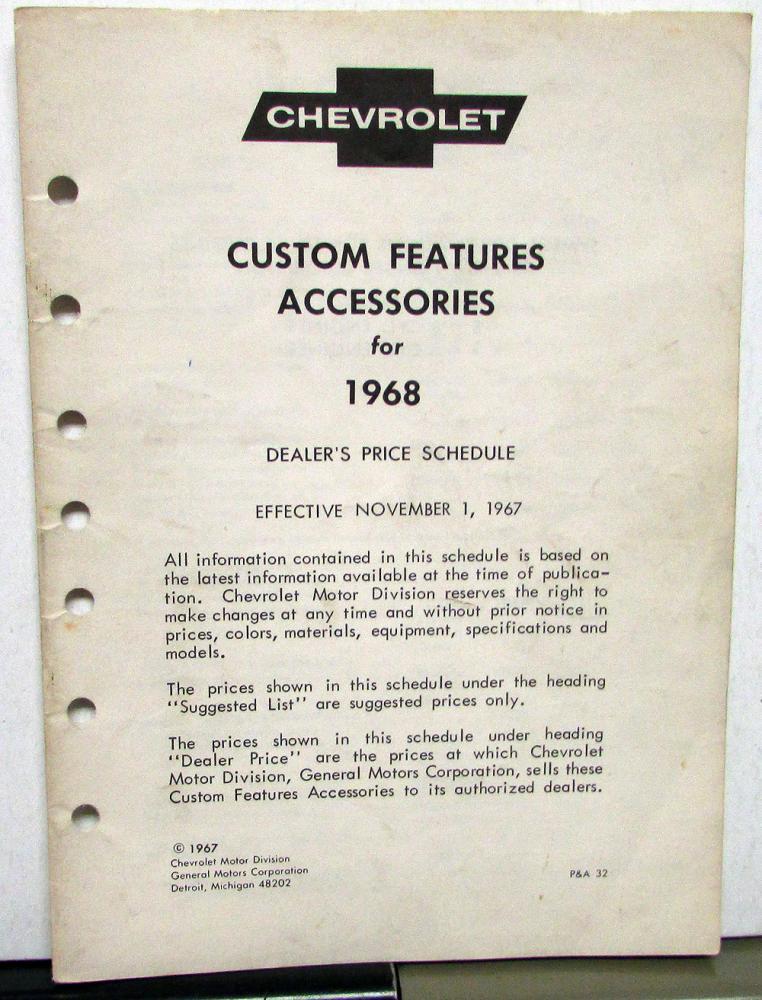 1968 camaro accessories