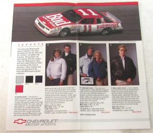 1986 Chevrolet Motorsports Apparel Merchandise Sales Brochure Jackets Shirts