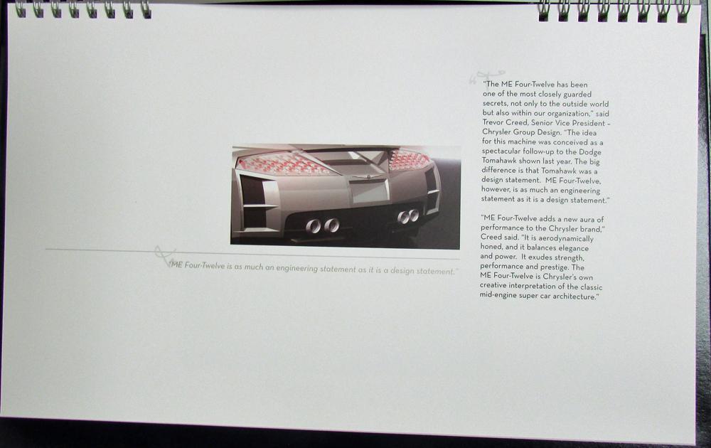 2004 Chrysler Me Four Twelve Mid Engine Super Concept Car Hardback
