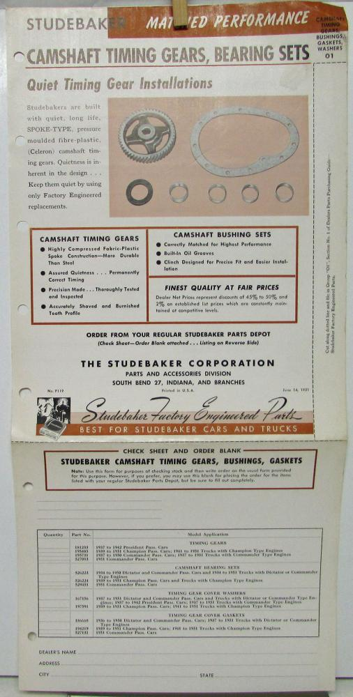 1951 Studebaker Parts Bulletin Indep Garages Camshaft Timing Gears Bearing Orig