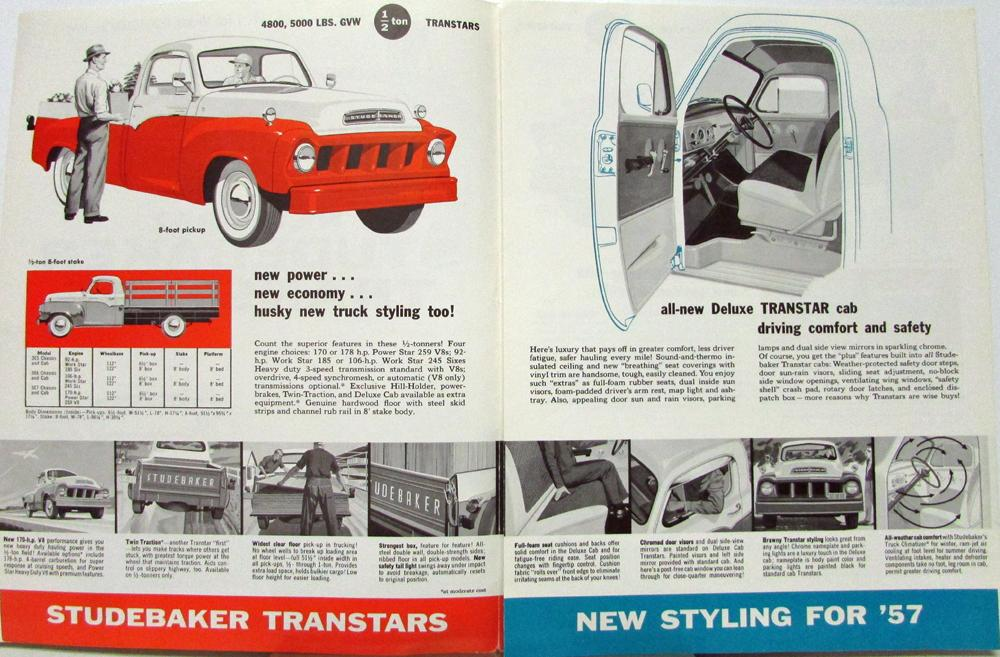 1957 Studebaker Transtars Trucks Sales Brochure Folder Original