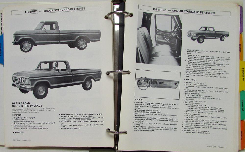 1979 Ford Dealer Light Truck Facts Data Book F100 F250 F350 Ranchero ...