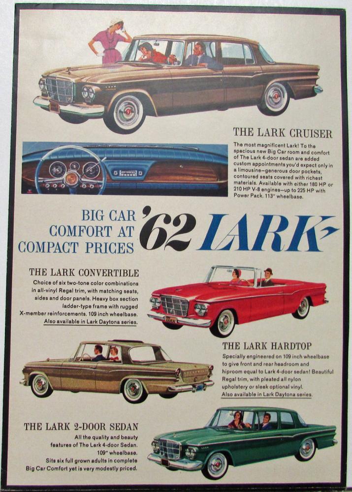 1962 Studebaker Lark With Big Car Comfort Sales Folder Original