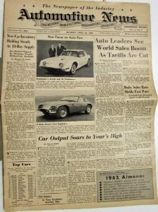 1962 Automotive News Issue  April 30 No 3861 Auto Industry Publication Original