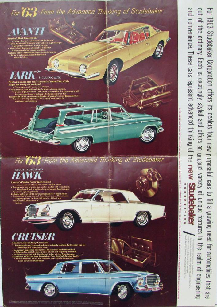 Vintage 1963 Studebaker Avanti Dealership Sales Brochure Folder Ad Original 63