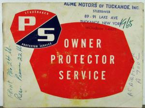 1965 Studebaker Owner Protector Service Book Original Used