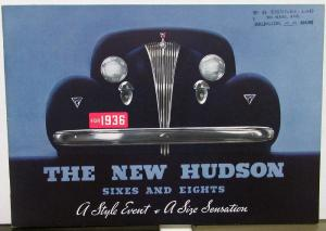 1936 Hudson Sixes & Eights Coupe Brougham Sedan Convertible Sales Brochure Orig