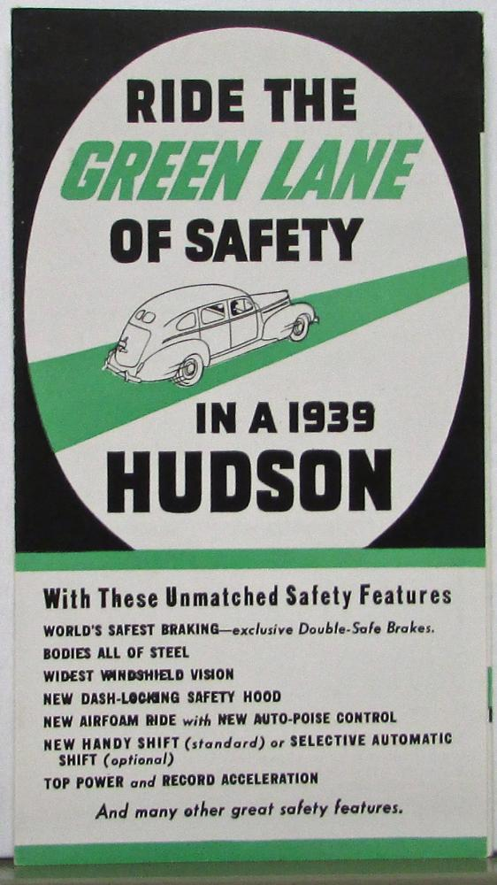 1939 Hudson Ride the Green Line of Safety Features Sales Folder Original