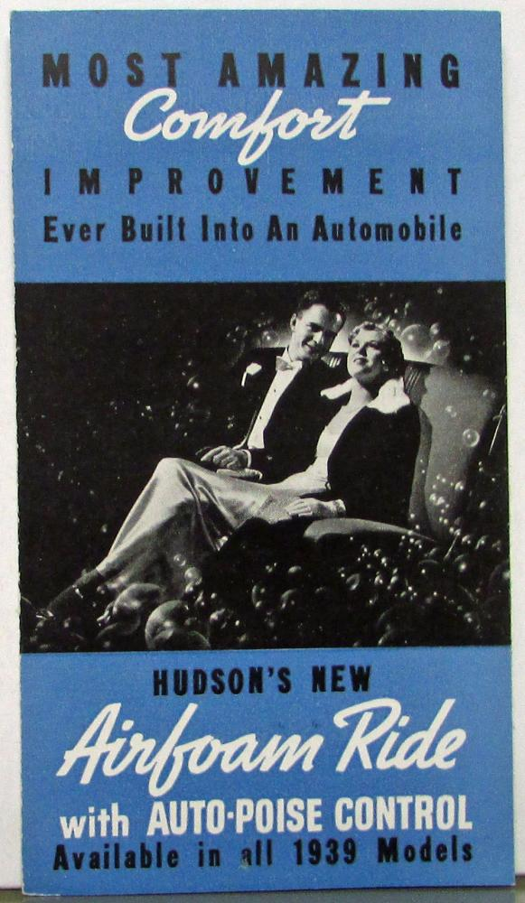 1939 Hudson Airfoam Ride with Auto Poise Control Sales Folder Original