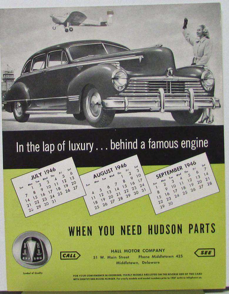 1946 Hudson Dealer Model Reference Identification Sheet 1937 To 1946 Green