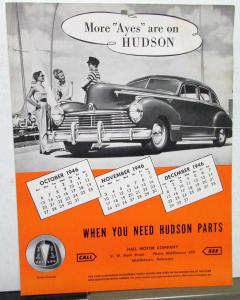 1946 Hudson Dealer Model Reference Identification Sheet 1937 To 1946 Orange