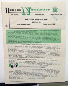 1952 Hudson Newsletter Vol 8 No 4 Sep  Motoring & Non Motoring Articles Original