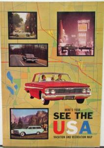 1961 Chevrolet Vacation and Recreational Map Car Color Sales Folder Original