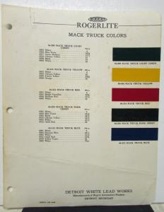 1940 Mack Truck Paint Color Chips