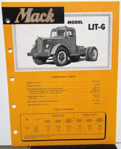1951 Mack Truck Model LJT G Spec Sheet
