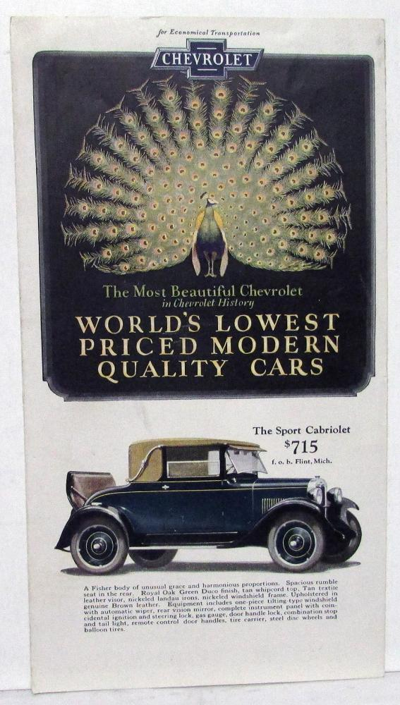 1927 Chevrolet Car & 1 & Half Ton Truck Color Sales Folder Cabriolet & More Orig