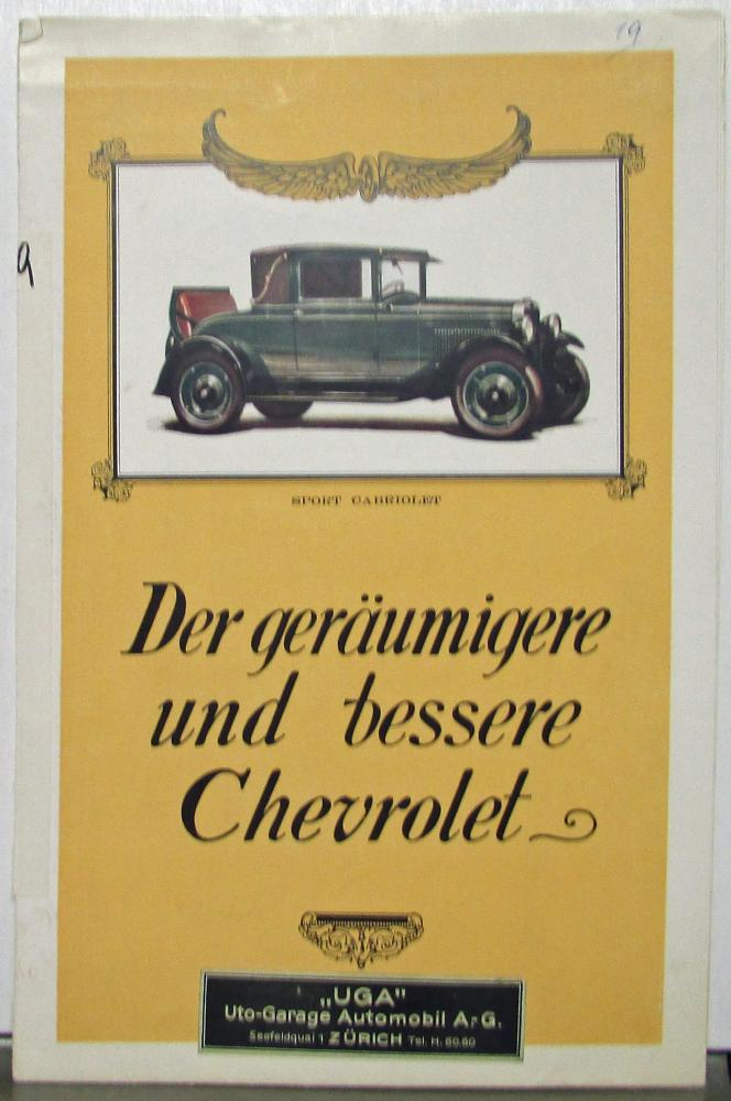 1928 Chevrolet Car German Text Belgiam Maket Sales Folder Sedan Coach Cabriolet