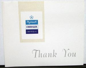1966 to 1972 Chrysler Plymouth Imperial Dealer Thank You Card Mailer 1969 1970