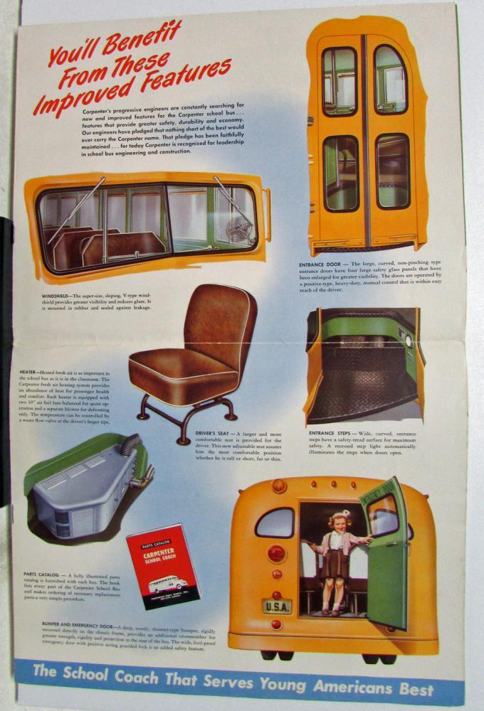 Vintage Carpenter School Bus Dealer Sales Brochure Chevy ...