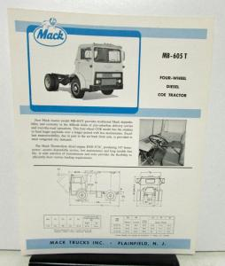 1964 Mack Truck Model MB 605T Specification Sheet