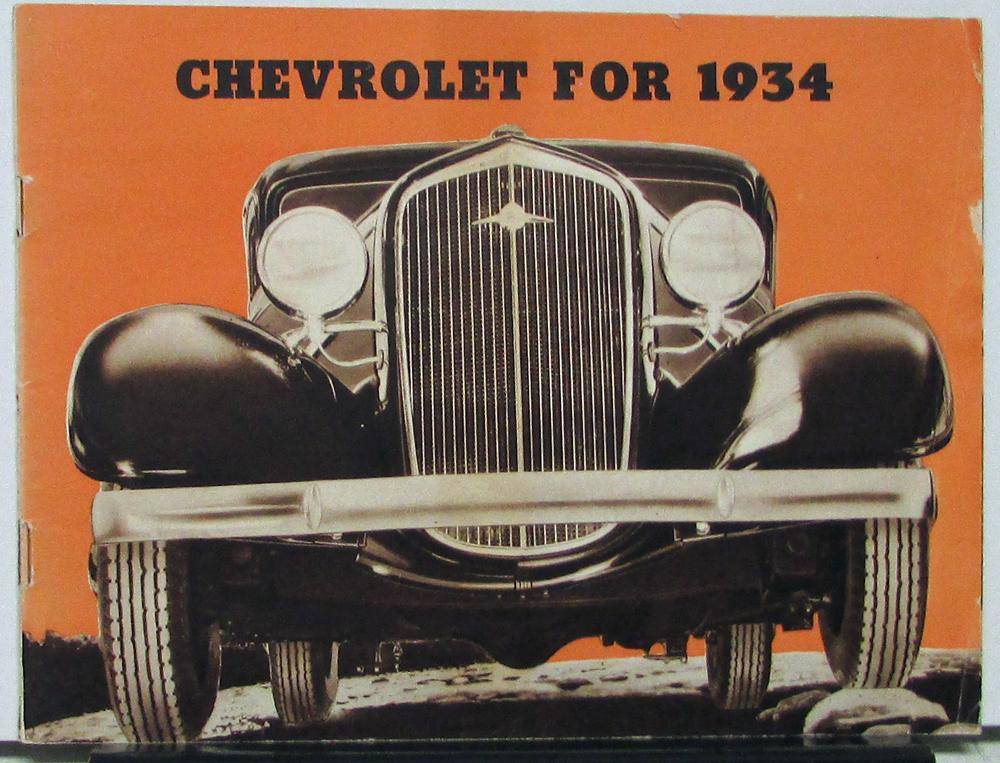 1934 Chevrolet Master Six Sales Brochure Original With