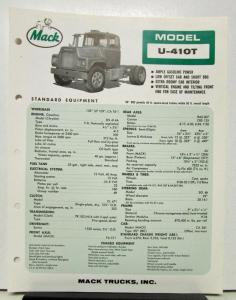 u model mack truck wiring mack truck wiring diagram for headlights 1965 mack truck model u 410t specification sheet. #4