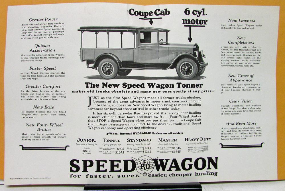 1928 Reo Speed Wagon Model Tonner Sales Brochure