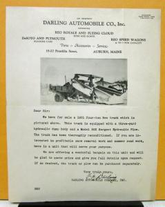 1931 REO Speed Wagon Sales Letter by Darling Automotive