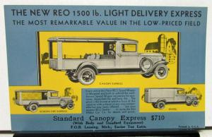 1930 1931 REO Light Delivery Express Canopy Panel Speed Wagon Post Card Original