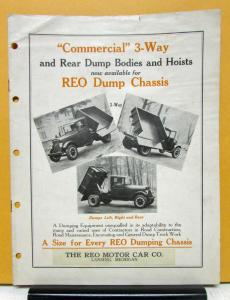 1928 1929 1930 1931 1932 REO Speed Wagon Commercial 3 Way Dump Specifications